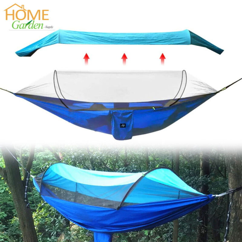 2 Person Camping Hammock with Mosquito Net Sunshade Portable Hiking Hanging Bed