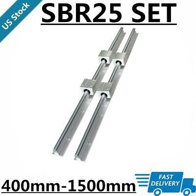 2pcs Sbr25 L400-1500mm Linear Rail Guide Shaft Rod4pcs Sbr25uu Bearing Block Us
