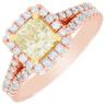 2 Carat GIA Certified Fancy Yellow Cushion Diamond Engagement halo Ring Platinum 6