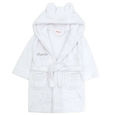 Embroidered Personalised Soft Baby White Dressing Gown Bath Robe ...