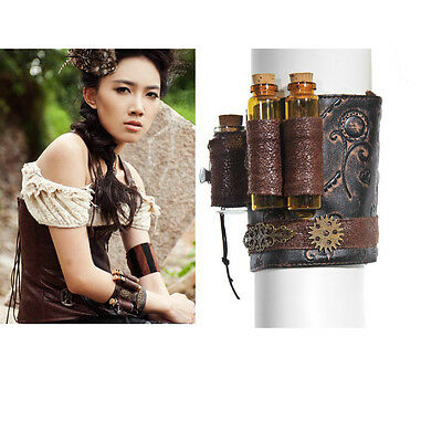 RQ-BL Kunst- Leder Armband Glas Manschette Steampunk Gothic Wristband SP057