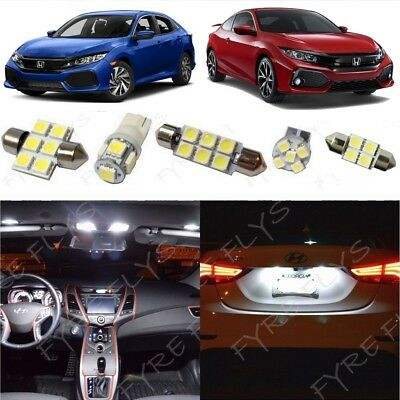 White LED interior lights package kit for 2016-2018 2019 Honda Civic + Tool HC5W](Led White Lights)
