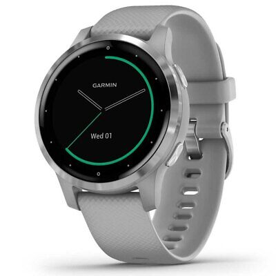 New Garmin Vivoactive 4S 40mm Case Silicone Band GPS Running Watch Powder Gray