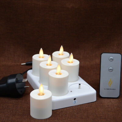 Luminara Tea Lights Ivory Unscented Moving Flame XMAS Candles with Timer Remote