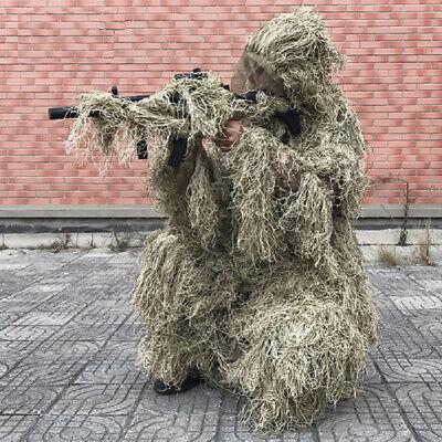 3D Ghillie Suit Sniper Leaf Jungle Forest Wood Hunting Camo Adult 4-Piece + Bag