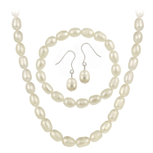 Sterling Silver Cultured Freshwater Pearl 3 Piece Set