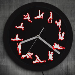 Night Club LED Neon Wall Clock Sex Positions Wall Decor Luminous Lighting Watch