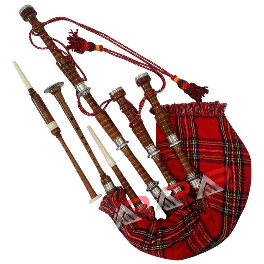 scottish great highland bagpipe rosewood natural color silver