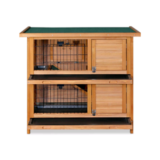🥕🐇2 PULL OUT TRAYS RABBIT GUNEA PIG HUTCH 2 STORY PULL OUT TRAY