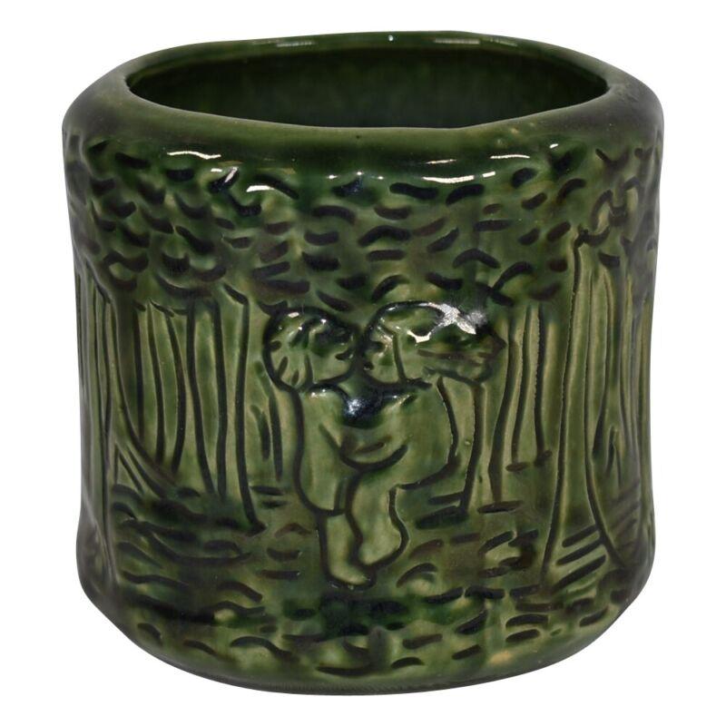 Van Briggle Pottery 1980s Jade Green Dancing Cherub Planter Vase 778