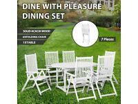 7 Piece Outdoor Dining Set Wood White with Extendable Table-44060