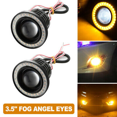 "2x High Power 3.5"" LED Fog Lights Projector With COB Yellow Halo Angel Eye Rings"