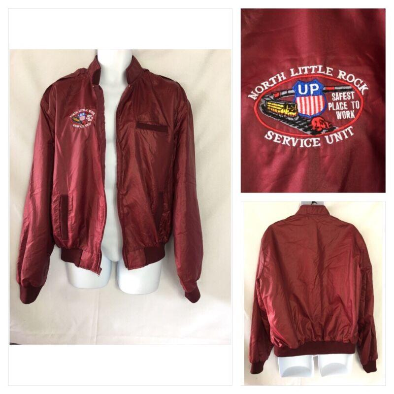 VTG 1990s Holloway XL Jacket Union Pacific N Little Rock Maroon Windbreaker