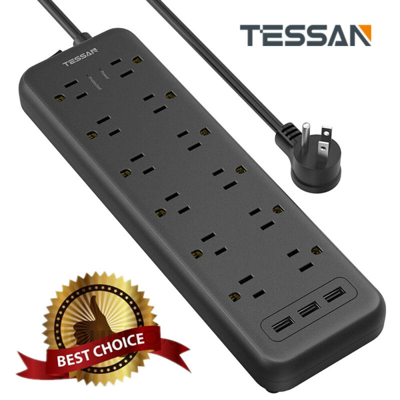 Wall Mountable 12 Outlets Surge Protector Power Strip with 3 USB Ports 5 Ft Cord