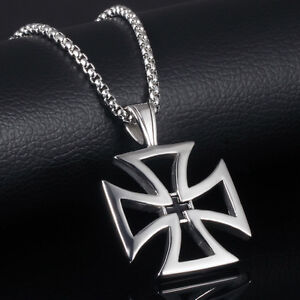Maltese cross pendant ebay rugged heavy maltese iron cross silver black stainless steel pendant necklace mozeypictures