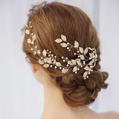 1Pc Bridal Headpiece Clip Metal Pearl Leaf Tiara Headband Hair Jewelry