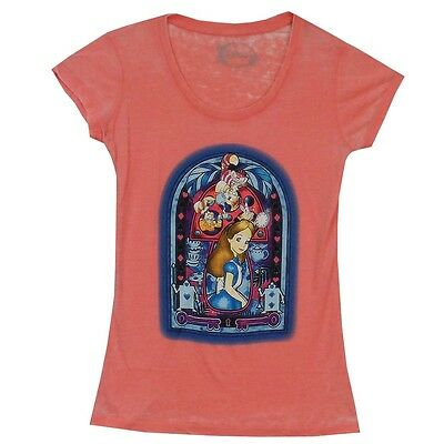 Alice In Wonderland Stained Glass Mushroom Burnout Junior T Shirt