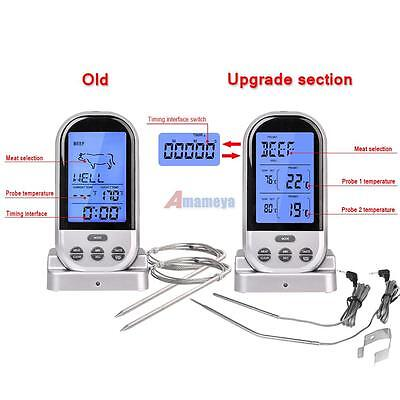Digital Wireless Remote Dual 2 Probe for Cook Food Meat Oven BBQ Thermometer (Dual Digital Thermometer)