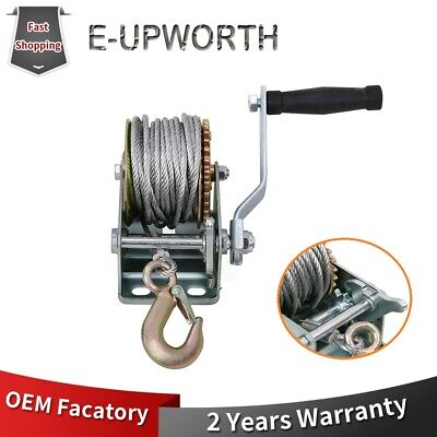 800lbs Winch Hoist Hand Cable Ratcheting Pulling Strap For Boat Trailer Puller