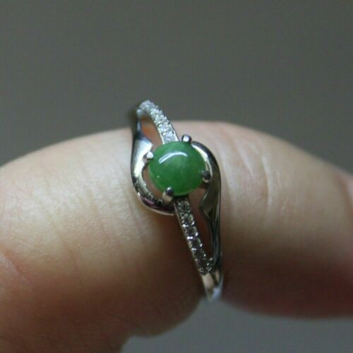 """Size 5 **  CERTIFIED Natural Jadeite """"Grade A"""" Untreated Green JADE S925 RING"""
