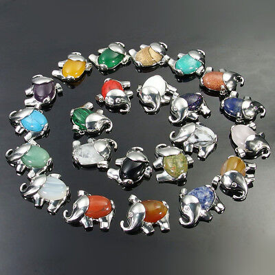 Agate Carnelian Turquoise Jasper Gemstone Beads Elephant Charms Pendant