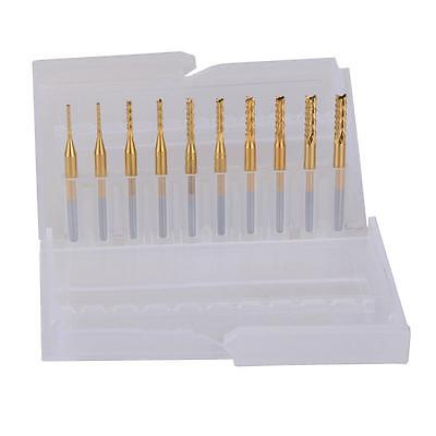 10pcs Titanium Coat Carbide 1.0-3.0mm Pcb Carbide Tools Cnc Milling Cutters Kits