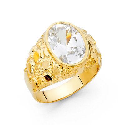 Oversize Men 14k Yellow Real Gold Big CZ Round Nugget Fashion Wedding Ring Band