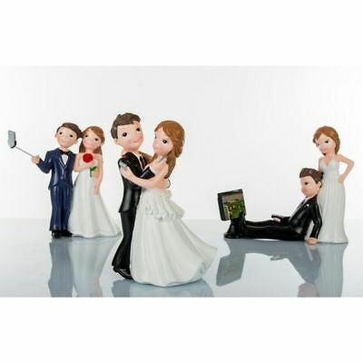 1 PZ CAKE TOPPER matrimonio SPOSI SPOSINI SELFIE 16 cm 051R