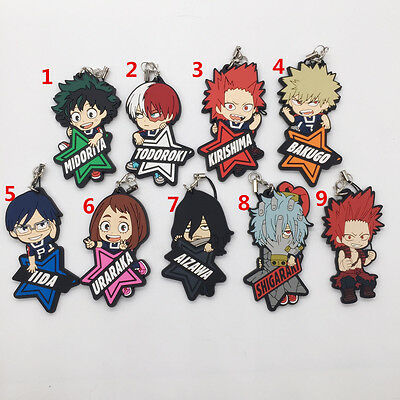 Anime Boku no Hero Academia Izuku Shoto rubber Keychain Key Ring Rare Cosplay
