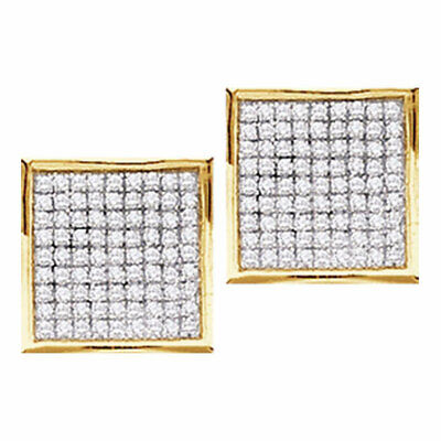 10k Yellow Gold Womens Round Diamond Square Cluster Stud Earrings 1/20 Ctw 4.4mm