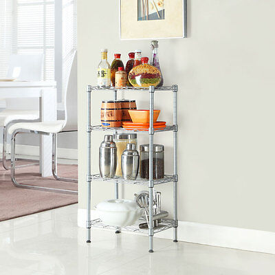 4 Tier Steel Rack Shelf Adjustable Unit Garage Kitchen Storage Home Furniture