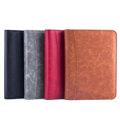 A5 Padfolio Business Leather Portfolio Zippered Notebook Binder Office Organizer