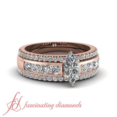 Rose Gold Marquise Diamond Engagement Ring And Wedding Band