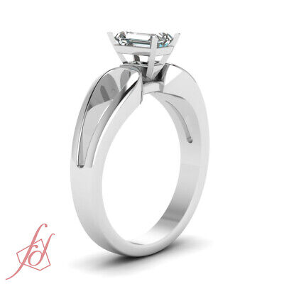 1/2 Ct Emerald Cut SI1-E Color Diamond Loop Duet Solitaire Engagement Ring GIA 2