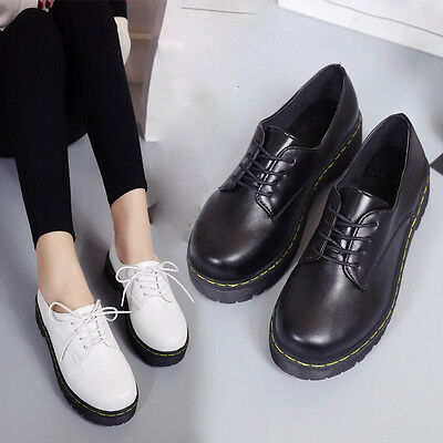 Fashion Women Lace up Platform Suede Oxfords Leather Loafer Shoes Ankle Boot