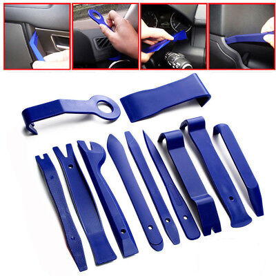 A Set Plastic Car Removal Open Repair Accessories Tools Kit Trim Pry Bar Blue