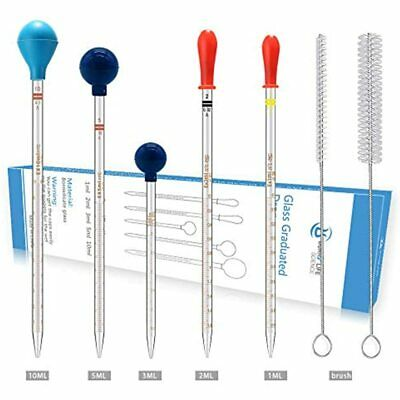 Thick Glass Graduated Dropper Pipettes With Caps Set Of 51ml 2ml 3ml 5ml 10ml