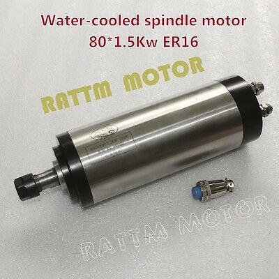 1.5kw Er16 Water Cooled Spindle Motor 220v 24000rpm 400hz 80mm For Cnc Router