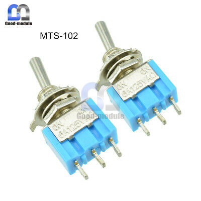 2pcs Mini 6a 125v Ac 3pin Spdt Mts-102 2 Position On-on Toggle Switch Practic Gm