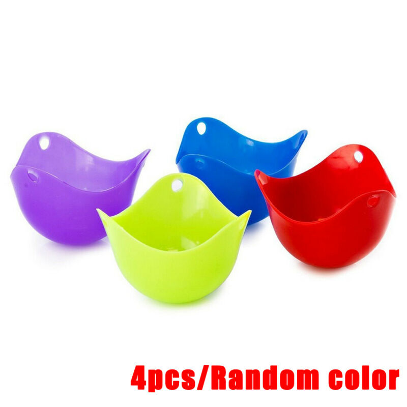4 * Silicone Egg Poachers Poaching Poach Cup Pods Mould Cook