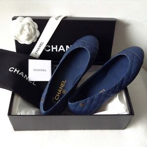 Authentic Chanel Shoes Quilted Leather Ballet Flats 37 Italy Brighton Bayside Area Preview