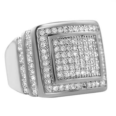 - Ice Chunk Baller Bling Rhodium CZ Quality Hip Hop Mens Iced Out Ring