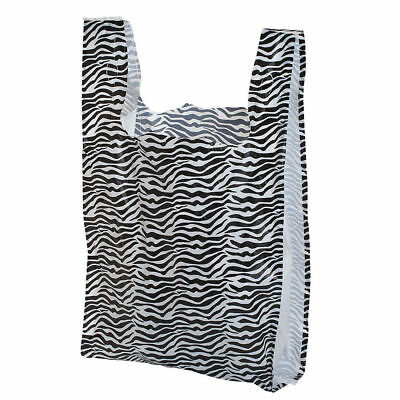 Plastic T-shirt Bags 1000 Small Zebra Print Animal Retail Merchandise 8 X 5 X 16