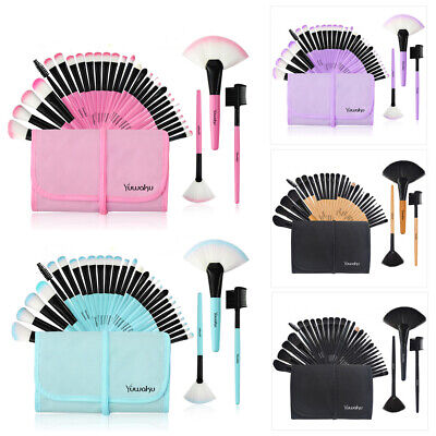32Pcs Best Rated Makeup Brushes & Bag Big Fan Powder Eyelash Eyebrow Tool