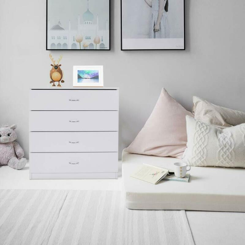 Dressers Chest Of Drawers 4 Drawer Soft White Finish Bedroom Storage Furniture