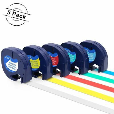 5pk Compatible With Dymo Letratag Plastic 91331 12 Label Tape Laminated Refills