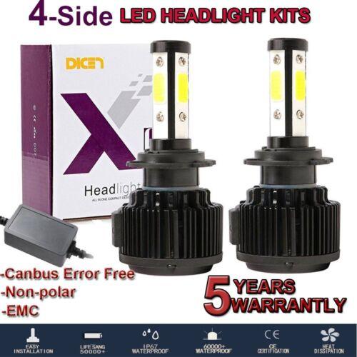 4 Sides H7 LED Headlight Bulbs Conversion Kit High Low Beam 6000K