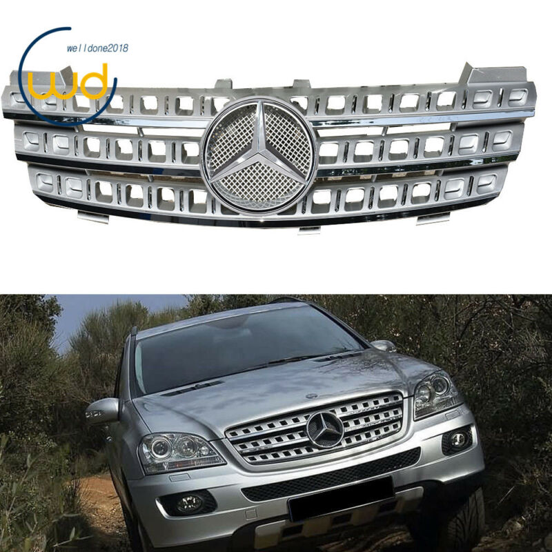 New 3 Fin Front Hood Silver Chrome Grill Grille for Mercedes ML Class W164 06-08