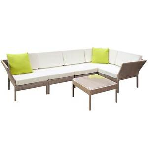 Stackable 6 pcs Brown Wicker Rattan 5 Seater Outdoor Lounge Set North Melbourne Melbourne City Preview