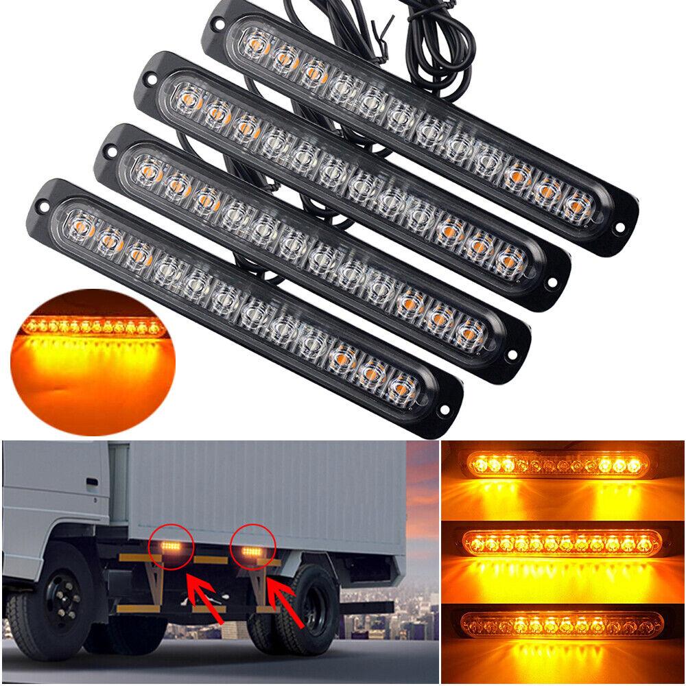 2x Amber 12 LED Car Truck Emergency Beacon Warning Hazard Fl
